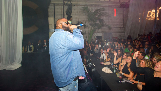 "Rapper Rick Ross provided some ""Aston Martin Music"" at Dwight Howard's Exclusive NBA All-Star Weekend Celebration on the Paramount lot in Hollywood on Friday night."