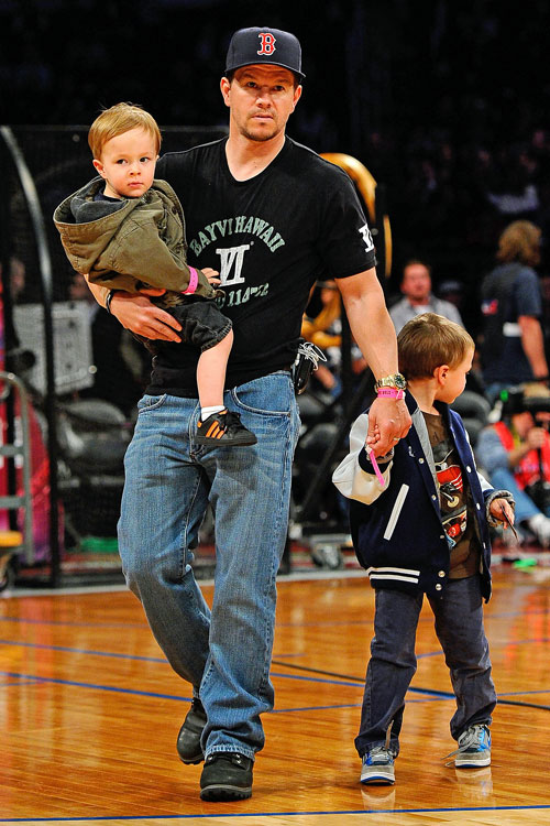 The Wahlberg family, all die-hard Boston fans, came to root on their four Celtic All-Stars in L.A.