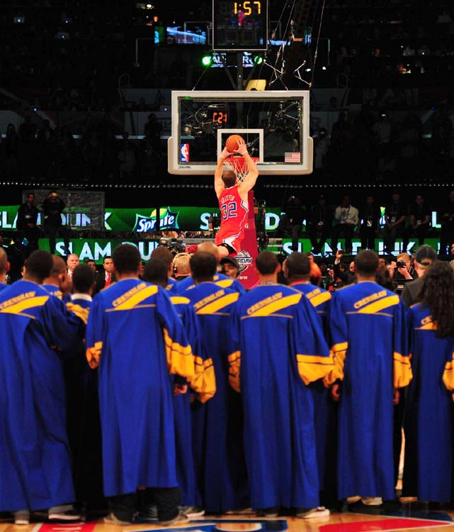 "A night to remember belonged to Blake Griffin all along. The hometown hero lived up to the hype and won the 2011 Slam Dunk Contest. Despite strong efforts from all four participants, particularly Wizards big man JaVale McGee, Griffin took home the hardware thanks to an array of impressive throwdowns. His signature slam of the night was also his last, dunking over a car while a gospel choir sang ""I Believe I Can Fly"" at halfcourt.  Click through our gallery to see the best shots from Saturday's dunk contest..."