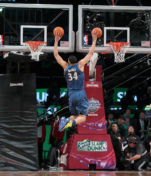 Taking a page from Dwight Howard a few years ago, McGee brought out a second hoop for one of his attempts. But instead of raising the rim, McGee did something that hasn't been done before in a dunk contest -- simultaneously dunking on two different hoops.