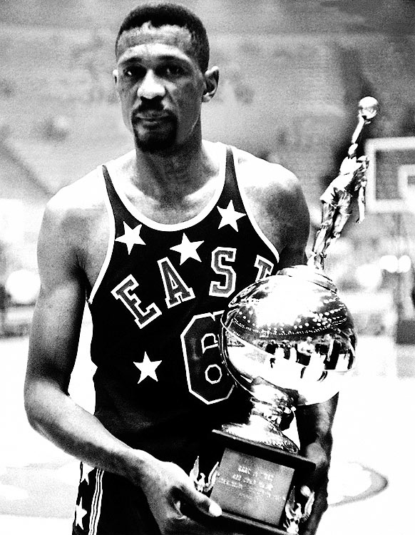 In their first All-Star Game against one another, Bill Russell bested Wilt Chamberlain as the East beat the West 115-108 in Los Angeles.  Russell outscored Chamberlain, 19-17, and outrebounded him, 24-19.