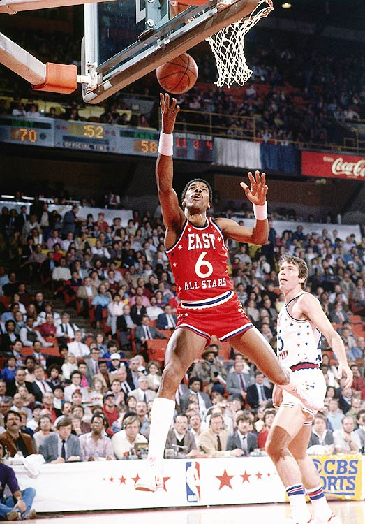 Julius Erving scored a game-high 25 points as the East defeated the West 132-123 for their fourth All-Star victory in a row.