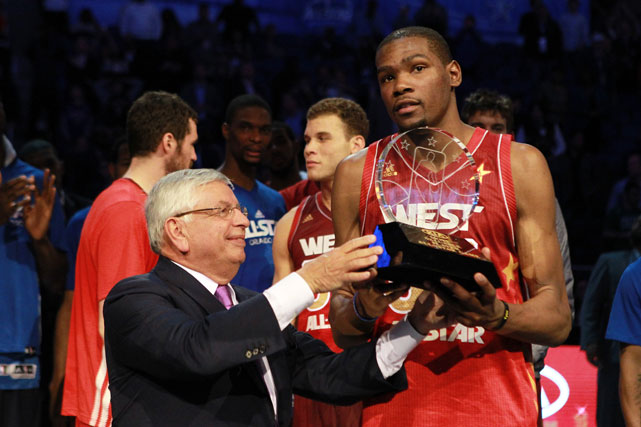 The Oklahoma City Thunder forward and two-time league scoring champion added yet another accolade to his already long resume: All-Star MVP. The 23-year-old tied a game-high of 36 points and added seven rebounds, three assists and three steals to help the West hold on for a 152-149 win over the East in Orlando.