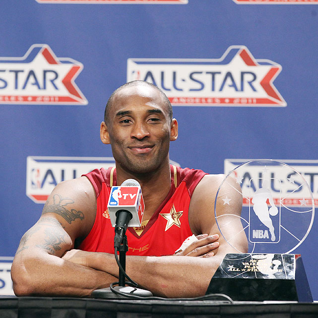 Playing in front of his home crowd, Kobe Bryant won his fourth All-Star MVP after pouring in a game-high 37 points along with 14 rebounds in the West's 148-143 victory in Los Angeles. With the award, Bryant tied Bob Pettit for the most All-Star Game MVP awards all-time.