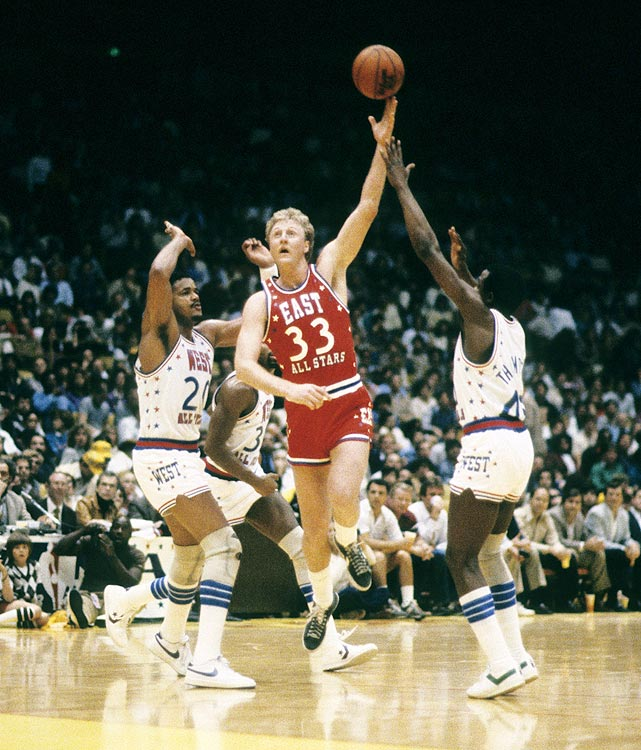 Larry Bird orchestrated a fourth-quarter drive, scoring 12 of his team's last 15 points, to lead the East to a 120-118 victory over the West in East Rutherford, N.J.