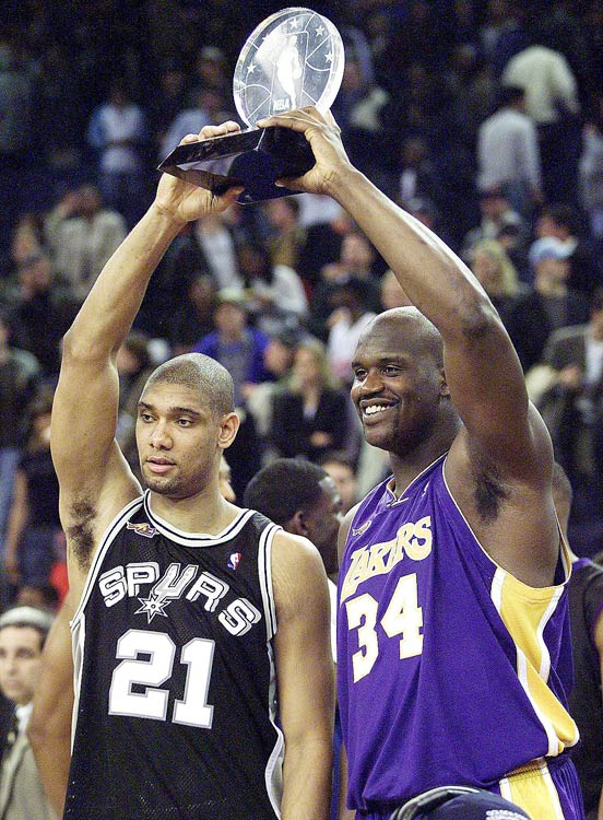 The starting frontcourt for the Western Conference All-Stars combined for 46 points and 23 rebounds as the West downed the East 137-126 in Oakland, Calif.  O'Neal (22 points, nine rebounds three blocks) and Duncan (24 points, 14 rebounds and four assists) shared the MVP award for the first time since John Stockton and Karl Malone in 1993.