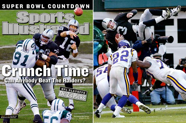 Several NFL teams have experienced seven-win declines, including the '08 Packers (see the next page) and these Raiders. Led by NFL MVP Rich Gannon, the 2002 team went to the Super Bowl under first-year coach Bill Callahan and lost to former Raiders coach Jon Gruden's Bucs. But Gannon was hurt for much of 2003, leading to a forgettable QB stint from Rick Mirer, as the Raiders began a run of seven consecutive seasons with at least 10 losses.