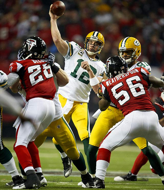 Matt Ryan developed a reputation for being dominant at home, leading the Falcons to 7-1 mark in the Georgia Dome in 2010.  In their NFC Divisional Round showdown with the Packers, Aaron Rodgers was even better.  Rodgers picked apart Atlanta's defense, completing 31-of-36 passes for 366 yards and three scores.  He also found the end zone with his feet, carrying in a seven-yard score midway through the third quarter in Green Bay's 48-21 romp.