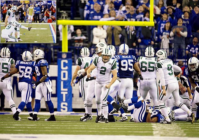 With last year's AFC Championship loss still fresh in their minds, the Jets approached their Wildcard matchup in Indianapolis as chance to get even.  They did just that, defeating Peyton Manning and Co. in a last-second thriller.  After Manning pioneered the Colts to a 16-14 lead with just 1:43 remaining, Mark Sanchez responded by completing three consecutive passes to set up a game-winning field goal attempt.  Nick Folk coolly connected on the 32-yard try to give the Jets their third road playoff victory in past two years.