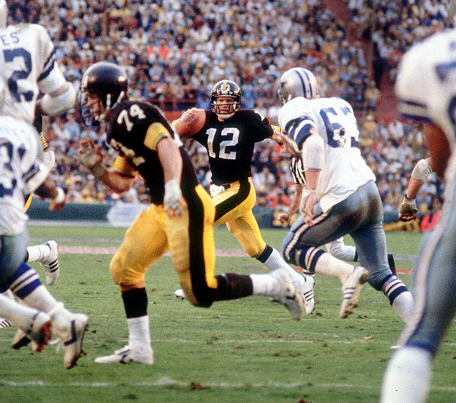 In a rematch of their Super Bowl X meeting, the Steelers downed the Cowboys 35-31 to become the first team to win three Super Bowls.  Quarterback Terry Bradshaw threw for 318 yards and four touchdowns and was named the Super Bowl MVP, becoming the first player since the 1970 AFL-NFL merger to win both the regular season MVP and Super Bowl MVP awards in the same season.