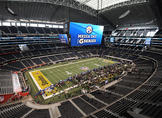 Scenes from Super Bowl XLV Media Day at Cowboys Stadium in Arlington, where the Steelers and Packers were the center of attention.