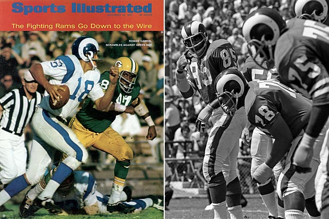 The 1967 Rams, led by QB Roman Gabriel and the Fearsome Foursome (Lamar Lundy,  Roger Brown and Hall of Famers Merlin Olsen and Deacon Jones), enjoyed a sublime  regular season -- 10 blowout victories, one signature win over the eventual  champion Packers and impressive margins with point differential (14.4) and  turnovers (plus 16). Simply put, this might have been the Rams' second-greatest team  of their 48-year stay in Los Angeles (after the 1951 NFL champions, of course).