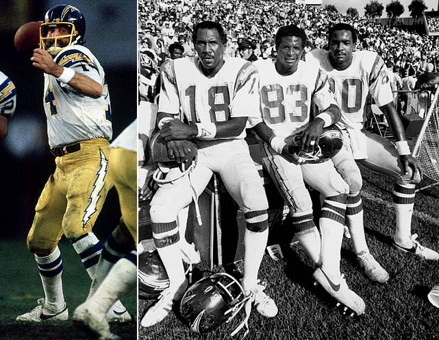 With Dan Fouts, Kellen Winslow, Charlie Joiner and John Jefferson executing the  high-powered Air Coryell offense, the 1979 Chargers are likely this countdown's  hippest cats. But they also had substance -- notching nine blowout wins, scoring  at least 26 points in 10 games and sporting a plus-11 turnover margin. Oh, and  did we mention the Bolts whipped that year's Super Bowl combatants -- the  Steelers and Rams -- by a combined score of 75-23 during the season? Of course,  it's fair to wonder, how did San Diego fall at home to Houston in the divisional  playoff round? Try as they might, modern-day Chargers fans cannot blame the '79  flameout on Marty Schottenheimer, a then-unknown linebackers coach with the  Detroit Lions.