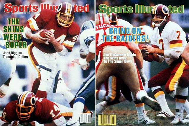 Forget the near-meltdown against the 49ers in the NFC title game. Forget the  futile showing against the Raiders in Super Bowl XVIII (losing 38-9). From a  regular-season perspective, the '83 Redskins trump nearly all comers in this  countdown -- even the high-powered Vikings of 1998. Looking at the numbers,  Minnesota had a better overall record, more points scored and one additional  blowout victory. But the Redskins, led by Joe Theismann, John Riggins, Art Monk,  rookie Darrell Green and coach Joe Gibbs, prevailed in the end, thanks to an  eye-popping turnover margin (plus 43), a 5-1 mark versus playoff teams and an actual  Super Bowl appearance.