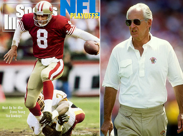 The 1992 Niners were as dynamic as their dynastic forebears of the 1980s, with  Steve Young succeeding Joe Montana at quarterback and George Seifert seamlessly  handling the coaching reins after Bill Walsh retired from the pro game in  February 1989. Looking at the numbers, the '92 Niners earned strong marks in  point differential (10.4), turnover margin (plus 7), blowout wins (8) and overall  record against playoff teams (5-1). For good measure, Young & Co. capped the  regular season with eight straight victories -- a necessity for holding off the  eventual champion Cowboys in the race for home-field advantage in the NFC  playoffs. Not that Dallas needed it to capture its first Lombardi Trophy in 15  years.