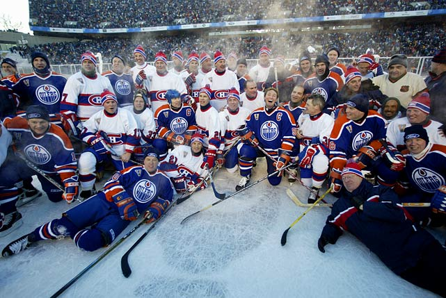 "The forerunner of the NHL's popular outdoor Winter Classic on New Year's Day was held on Nov. 22, 2003 at Commonwealth Stadium in Edmonton. It was a doubleheader.""We originally planned to have the old timers game and the main game on separate days,"" former Oilers GM Kevin Lowe says. ""But we were really fearful that the actual game wouldn't sell as well as the old timers game. [We thought] people would go to the old timers game because you've got Gretzky, Messier, Lafleur -- it doesn't get any better than that. So the likelihood was that we'd sell out for the old timers game and maybe get half a stadium for the actual game."""