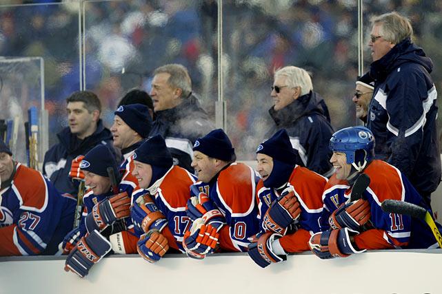 A vision from the Glory Days of the Oilers dynasty: famed alumni Wayne Gretzky, Jari Kurri, Esa Tikkanen, Glenn Anderson, and Mark Messier.