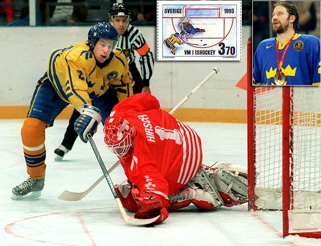 Forsberg represented Sweden in major international competitions 11 times, but never more famously than at the 1994 Winter Olympics where he scored the gold medal-winning goal in a shootout vs. Canada  (Click here for video) . Sweden issued a postage stamp in his honor, and he won Olympic gold again in 2006, assisting on Nicklas Lidstrom's clinching goal.