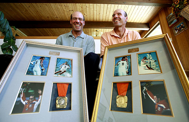 American Phil Mahre (right) won the gold medal while his twin brother Steve (four minutes younger) won the silver medal in men's slalom at the 1984 Winter Olympics in Sarajevo, becoming the first brothers to ever finish first and second in an Olympic event.