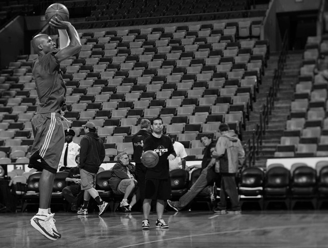 Allen, renowned for being one of the first players on the court to begin warming up for games, takes a practice three-pointer before Game 5 of the 2010 NBA Finals.
