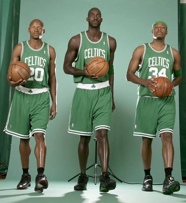 After four-and-a-half seasons in Seattle, Allen was shipped to the Celtics on the night of the 2007 NBA Draft. A month later, Boston acquired Kevin Garnett. They teamed with Paul Pierce to form a new Big Three.