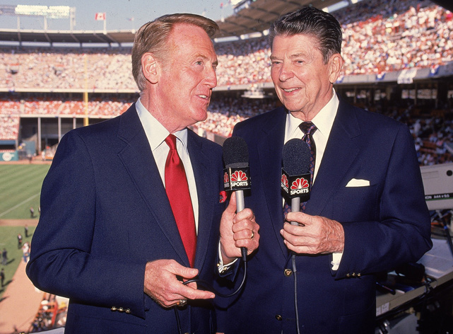 Reagan joins Vin Scully in the broadcast booth at the 1989 MLB All-Star game.