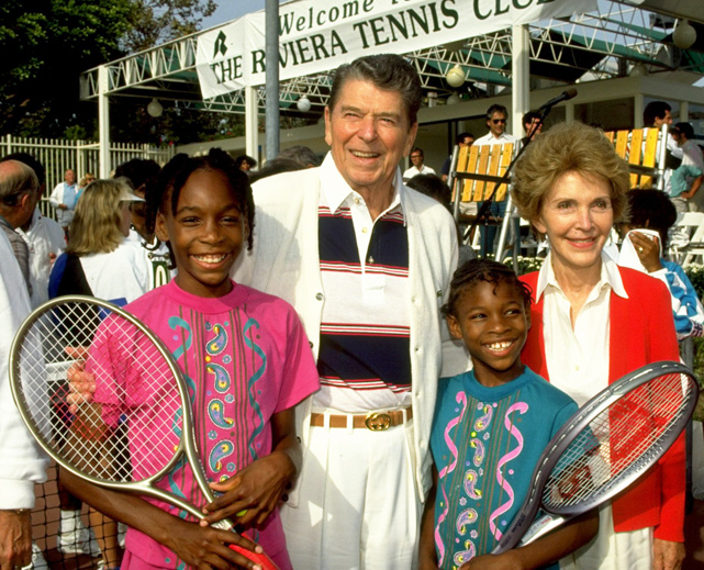 Ronald Reagan, the 40th president of the United States, would've turned 100 on Sunday. He remains one of the biggest sports fans to ever hold office. Here is a look at some of his most famous sports-related photos.    Reagan and his wife Nancy pose with 10-year-old Venus and nine-year-old Serena Williams at the Nancy Reagan Tennis Tournament.