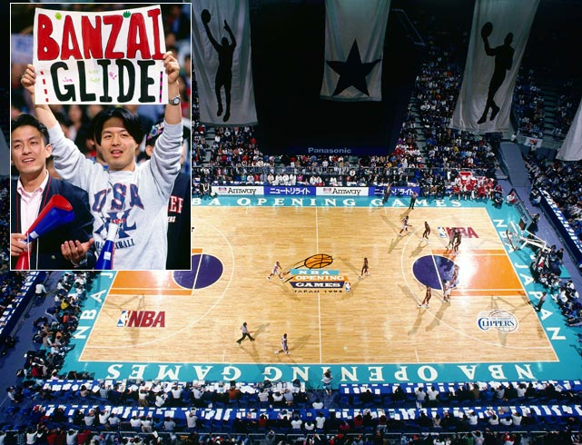 Clyde Drexler and the Portland Trail Blazers fought back jet lag to defeat the Los Angeles Clippers 121-100 in the NBA's third year of international season-opening games.