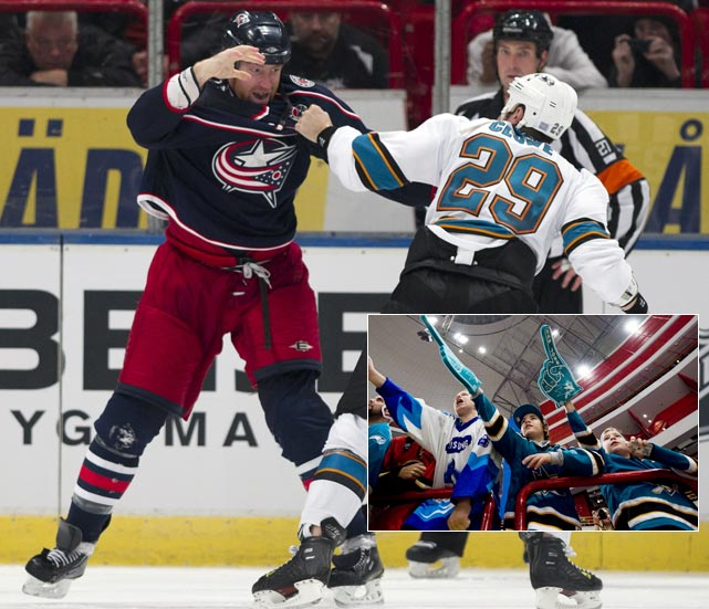With five Swedes in the lineup (three for the Blue Jackets; two for the Sharks), the Sharks beat the Blue Jackets 3-2 in the NHL's third straight year in the Swedish Capital.