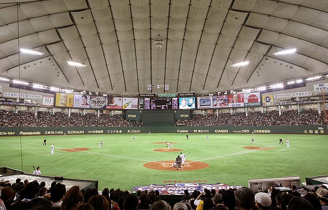 For Opening Day 2008 the Red Sox, the reigning World Series champs, took on the A's in Tokyo.  Behind a subpar performance from hometown hero Daisuke Matsuzaka, Boston beat Oakland in extra innings in front of a crowd of 44,628 at the Tokyo Dome.