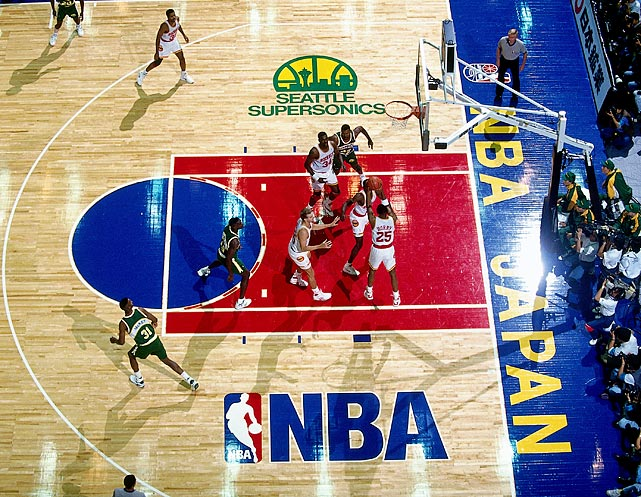 In front of a packed Yokohama Arena, the Seattle SuperSonics defeated the Houston Rockets 111-94.