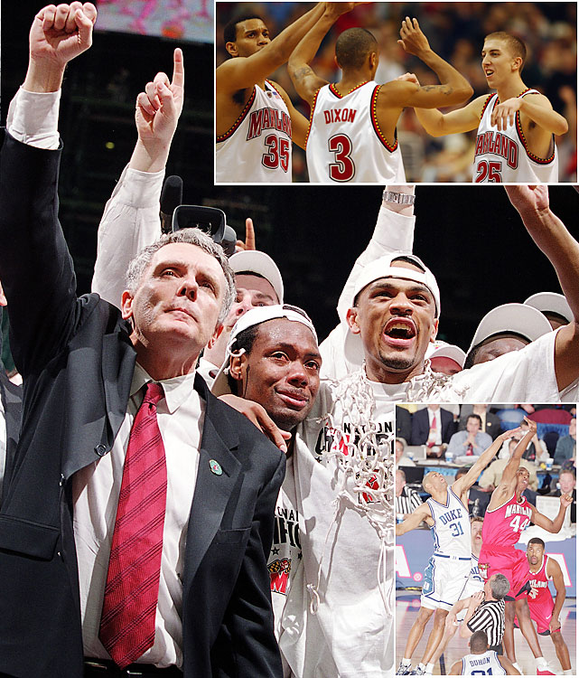 The Terps' Final Four appearances were both memorable but for different reasons. In 2001, Maryland made it as a No. 3 seed and met up with Duke for the fourth time that season. Terrance Morris (bottom right) and the Terps stormed to a 22-point lead but faltered the rest of the way, especially down the stretch, and wound up losing by 11. The following season, without Morris, a group led by Lonny Baxter, Juan Dixon and Steve Blake (top right) brought Gary Williams a national title, beating surprise finalist Indiana.