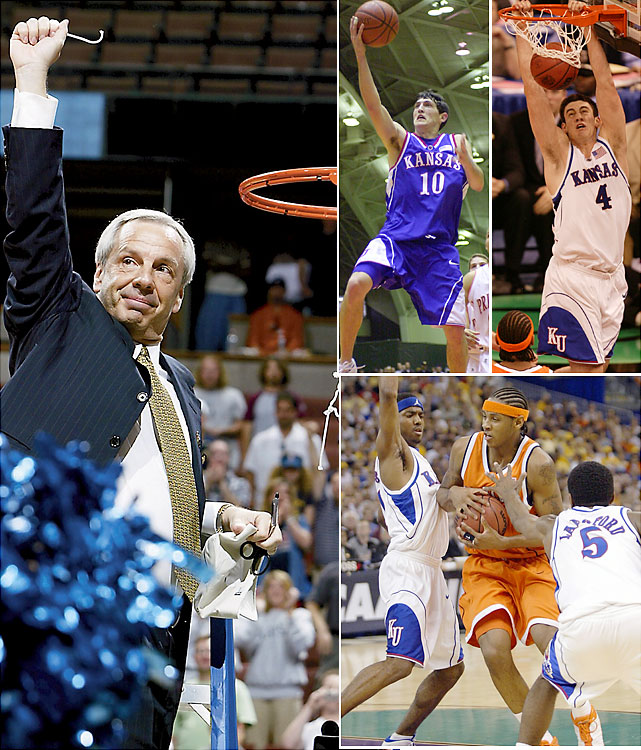 Roy Williams' final two years in Lawrence proved fruitful. In 2002, the No. 1 seed Jayhawks began the Final Four with a flourish, going up 13-2 on Maryland. They unraveled, however, and fell to the eventual champion Terps 97-88. Kirk Hinrich and Nick Collison (top right) returned for the 2002-03 season and went up against the two most electrifying players in the 2003 tournament. They routed Dwyane Wade-led Marquette by 33 points in the national semifinals, but Carmelo Anthony and Syracuse proved too much in the title game.