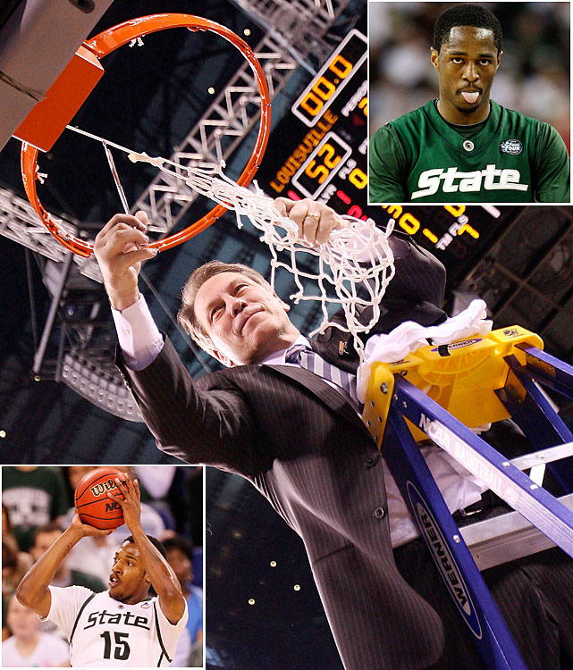 Sparty has made a pair of back-to-back Final Fours in the 21st century. This recent version, led by Kalin Lucas (top right) and Durrell Summers (bottom left) failed to win Tom Izzo a second national championship. Michigan State fell to North Carolina in the 2009 championship game in Detroit and succumbed to Cinderella Butler in the 2010 semis.