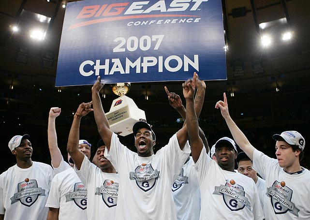 Georgetown celebrates a 2007 Big East tournament win after knocking off Pittsburgh. The eventual Final Four team was led by defensive-stopper Roy Hibbert and Jeff Green, the Big East Player of the Year and the tournament's Most Outstanding Player.