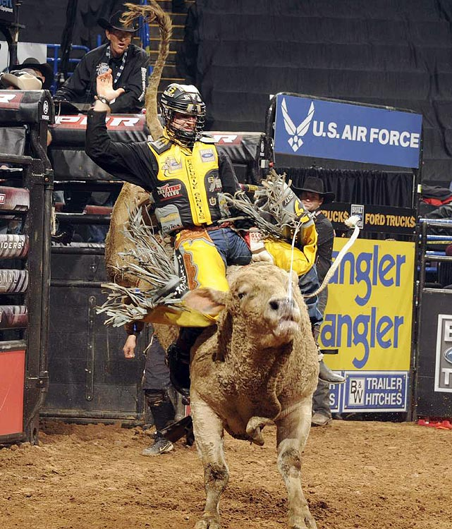 2009 Professional Bull Riders Rookie of the Year Cody Nance of Paris, Tenn., rides K-C's Sky Jacker for 74.75, but gets a re-ride.