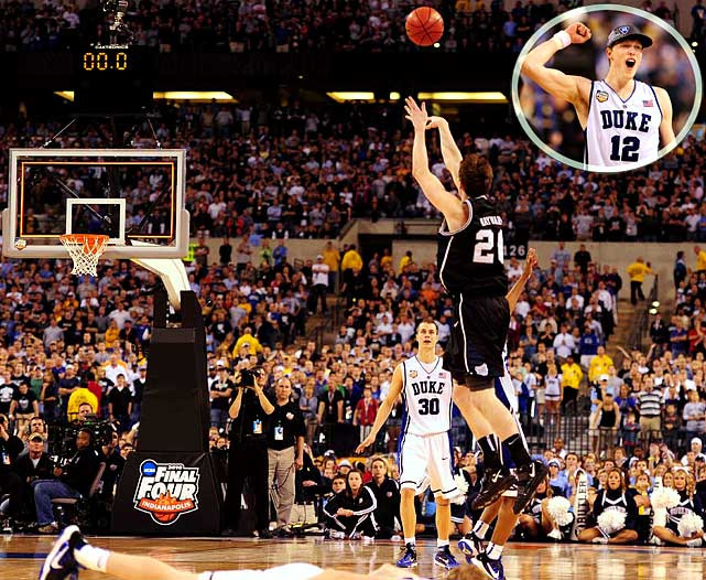 "Hyped as a ""David vs. Goliath"" matchup, the 2010 title game featured the undersized, overachieving Butler Bulldogs, who gave perennial powerhouse Duke quite a scare. The Blue Devils held a five-point lead with just over three minutes to play, but Butler came roaring back to close within one thanks to consecutive layups from center Matt Howard. Unfortunately for the underdogs, leading scorer Gordon Hayward missed a fadeaway from the right corner with fewer than 10 ticks on the clock, and then a desperation heave at the buzzer, both of which would have given Butler the lead."