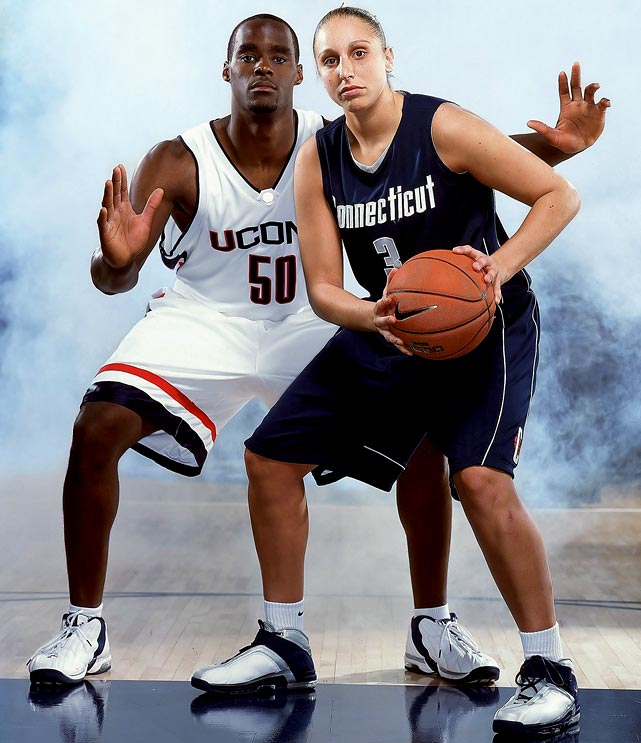 The Huskies became the first Division I program to capture both titles in the same season. The men struck first as Emeka Okafor and Ben Gordon carried the Huskies to an 82-73 win over Georgia Tech. A day later, the women's team followed Taurasi to its fourth title in five seasons.