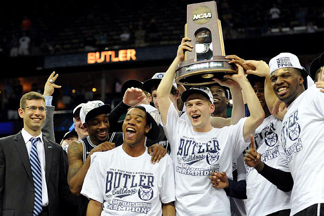 Shelvin Mack (right) scored 27 points, including five in overtime, and Butler reached the Final Four for the second year in a row under head coach Brad Stevens (left) with a 74-71 victory over Florida.