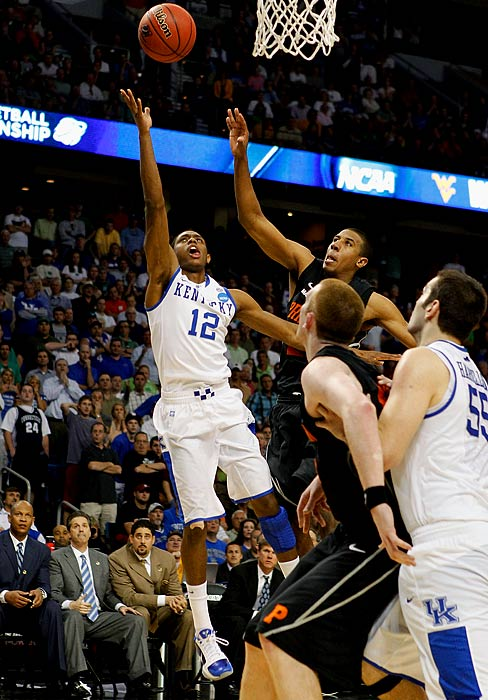 Freshman guard Brandon Knight missed his first seven shots and even found himself on the bench in the final minute against Princeton.  Held scoreless for more than 39 minutes, Knight made a driving layup with two seconds remaining to lift Kentucky to a 59-57 win over Princeton.