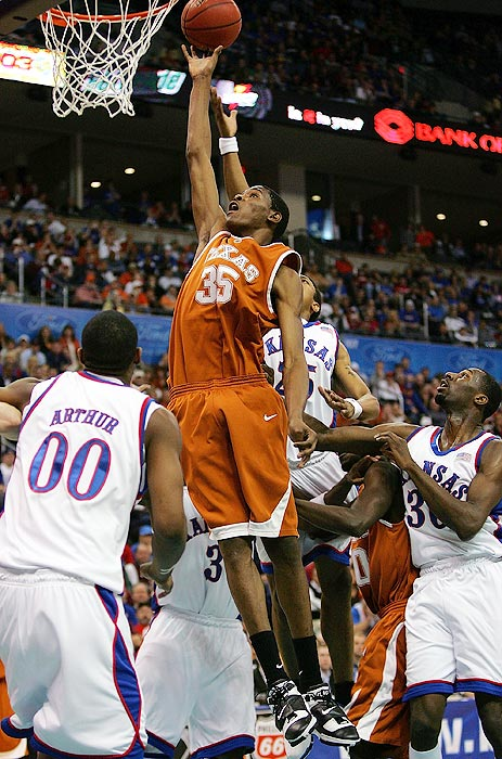 Only a member of the Texas Longhorns for one year, Kevin Durant didn't waste any time making his mark.  He set a Big 12 tournament record with 92 points in Texas' three games, and his Longhorns narrowly fell to Kansas in an overtime thriller in the Big 12 tournament title game. Even with the loss, Durant was named the tournament MVP.