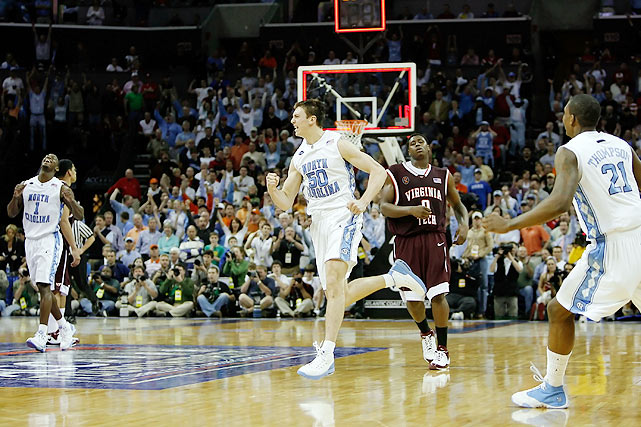 "The MVP of the 2008 ACC tournament averaged 22 points during North Carolina's run to the title, but it was two points against Virginia Tech that cemented him as a Tar Heels hero.  With seconds remaining in a tied semifinal match against Virginia Tech, Hansbrough scooped up a loose rebound and nailed a fadeaway jumper to propel UNC to the championship game.  Elated, Hansbrough marched back down the court pumping his fists, a demonstration even he deemed excessive.  ""I'm not going to lie,"" he said of the celebration. ""I kind of overdid it.""  Wouldn't you?"