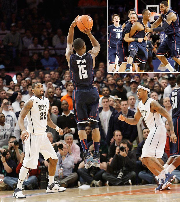 It's only three games into the Big East tournament, but Kemba Walker is already looking downright heroic for the Connecticut Huskies.  The 6-foot-1, Bronx native nailed a step-back jumper at the buzzer to down Pittsburgh on Thursday and he's carrying the Huskies on his back to the tune of 27 points per game.    Who else stepped up their game during championship week? SI.com looks back at some memorable prime-time performers.