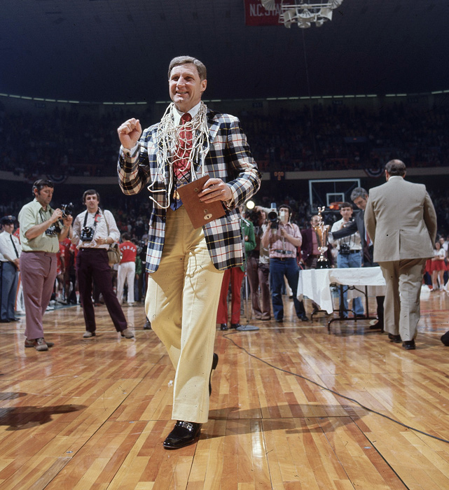 North Carolina State coach Norm Sloan after defeating Maryland for the ACC championship. The Wolfpack went on to win the national championship.