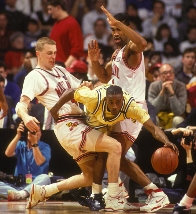 Georgia Tech guard Kenny Anderson tries to dribble through a double-team during a game against Maryland.