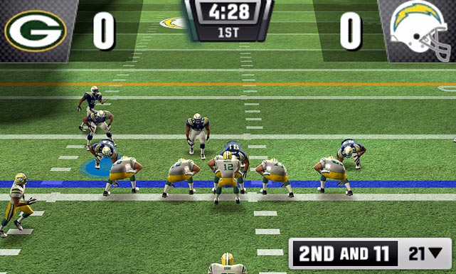 If you really need a football fix during the NFL offseason -- which could be even longer this year with the lockout -- then this is your best bet. There are two ways to play: 5-on-5 and 11-on-11. The 5-on-5 mode is a lot more fun and the frame rate doesn't lag the way it does with 11-on-11. The big downside is the lack of multi-player, even on wireless. On the plus side, you can draw your own plays at the line of scrimmage, and you can play a full season (no stats) based on last year's schedule and win Super Bowl XLV.  Score: 6.5 out of 10