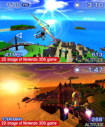 Here's a look at additional launch tiles for the DS:   Pilotwings Resort  by Nintendo (pictured): Fly by plane, rocket belt or hand glider on the familiar set of Wuhu Island, although like you've never seen it before in 3D. It's a relaxing game with enough challenges and game modes to keep you satisfied. Fans of this franchise will not be disappointed, and newbies will like having it as eye candy to show off the powers of the new 3DS. Score: 7.5 out of 10   Lego Star Wars III The Clone Wars 3D  by LucasArts: It's hard to have more fun than this on any of the launch titles. Unlike the clunky console version, the nuance of switching between characters and the challenge of solving puzzles while fighting enemies is executed wonderfully here. Playing levels with different characters yields different rewards, making the replay value very high. Score: 9.5 out of 10   Steel Diver  by Nintendo: Use the built-in gyroscope sensor to hunt for targets as if you were on a real submarine manning a periscope. Just watch out because you might get dizzy (and look a little silly) from spinning around. The variety of game modes keeps the title interesting. Score: 7 out of 10   Nintendogs   Cats: Golden Retriever and New Friends  by Nintendo: It's easy to make fun of anybody who would play this game, but the minute you adopt your new pet and start playing catch with it, you won't be so quick to criticize. Play at your own risk (extremely addictive!). Score: 8 out of 10