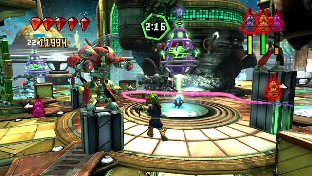 Move Heroes assembles an all-star cast of PlayStation franchise characters by bringing together Ratchet & Clank, Jak & Dexter and Sly Copper & Bentley. All three of those sets have starred in successful games, so the expectations for this game were potentially higher than they should've been.  Move Heroes has a silly plot that ultimately pits the characters in a series of mini-games that take place on location-themed levels. In the mini games your primary goal is to defend or collect Whibbles, a hapless alien species, and to stay alive. In your way is an army of robots that you combat by shooting, whipping and smashing. The Move controller mechanics work with mixed results. Shooting is the best experience, but the whip is clumsy and can leave you standing in the middle of a pack of enemies when you miss.  The game tracks achievements through leaderboards and offers a lackluster co-op mode. It has some replay value if you like to go for medals and hidden items, but some of these tasks are overly difficult.  Score: 6 out of 10
