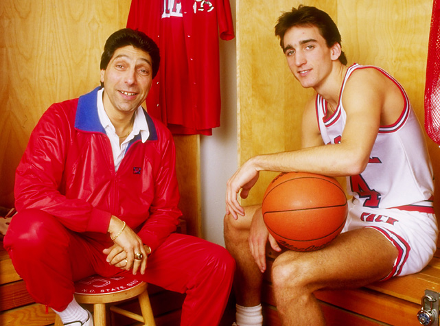 Valvano poses with point guard Vinny Del Negro. The point guard spent four years playing for Valvano and led the Wolfpack to the 1987 ACC Tournament championship, where he was named MVP.