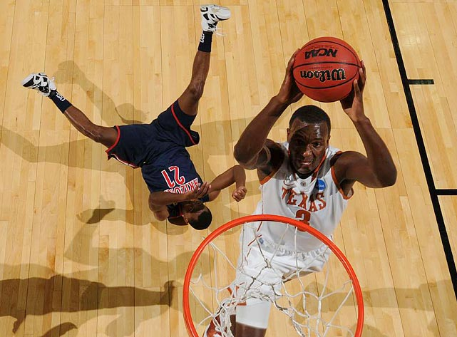 Texas' Jordan Hamilton leaves an Arizona Wildcat in his wake as he dunks during their third-round matchup in the NCAA tournament.  Unfortunately, the dunk wasn't auspicious; Texas would go on to lose to the Wildcats 70-69.